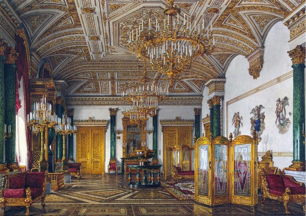 Малахитовый зал Зимнего дворца.