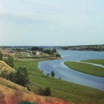 Река Исеть. Вдали село Водолазы. Камышловский уезд Пермской губернии