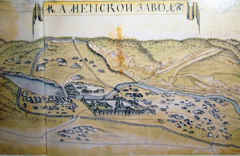 Старинная карта Каменского завода
